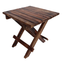 Plank Style Square Portable Mango Wood Picnic Chair with Cross Legs, Rustic Brown