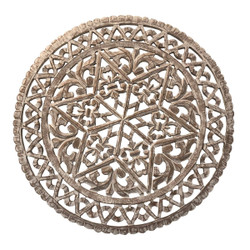 30 Inch Round Wooden Carved Wall Art with Intricate Cutouts, Distressed White