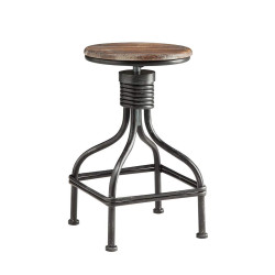 Dunawest Vintage Metal Frame Swivel Counter Bar Stool with Round Seat, Brown and Black