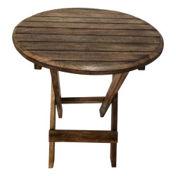 Farmhouse Wooden Round Folding Chair Side End Table with Planked Top, Rustic Brown