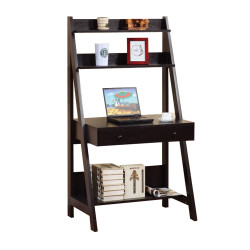 Contemporary Style Ladder Desk with 3 Open Shelves