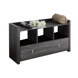 Dunawest Wooden Storage Shoe Rack Bench with 3 Shelves and Raised Top, Distressed Gray