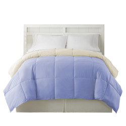 Dunawest Genoa King Size Box Quilted Reversible Comforter, Blue and Cream