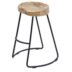 Wooden Saddle Seat Bar Stool With Metal Legs, Large, Brown And Black