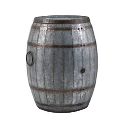 Drum Shape Metal Wine Storage Table With Removable Lid, Rustic Brown And Gray