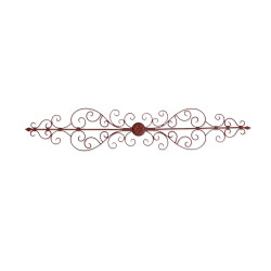 Traditionally Carved Metal Wall Plaque with Scrollwork, Brown