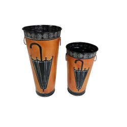 Rustic Umbrella Stand with Engraved Details, Set of 2, Brown