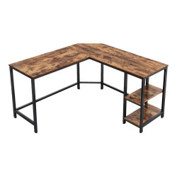 L-shape Wood And Metal Frame Computer Desk With 2 Shelves, Brown And Black