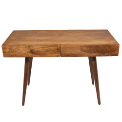 Mango Wood Writing Desk With Two Drawers And Tapered Legs, Brown
