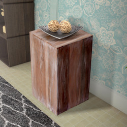 Dunawest 10 Inch Square Wooden Accent Block End Side Table, White