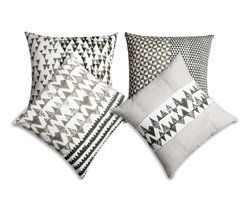 Dunawest 18 X 18 Block Printed Cotton Pillow With Geometric Details, Set Of 4, Multicolor