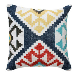 Dunawest 18 X 18 Cotton Hand Woven Zippered Pillow With Kilim Print, Multicolor