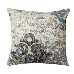 Dunawest 18 X 18 Cotton Hand Woven Dhurri Pillow With Iris Print, White And Blue