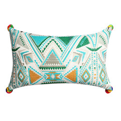 Dunawest 12 X 20 Cotton Hand Woven Dhurri Pillow With Geometric Details, Multicolor