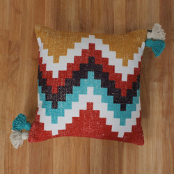 Dunawest 18 X 18 Cotton Hand Woven Dhurri Pillow With Kilim Print, Multicolor