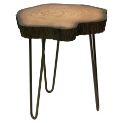 Dunawest 17.5 Inches Live Edge Solid Wood End Table With Metal Hairpin Legs, Brown