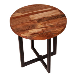 Dunawest 18 Inches Round Solid Wood End Table With X Shape Metal Base, Brown And Black
