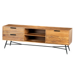 Roomy Wooden Media Console With Slanted Metal Base, Brown And Black