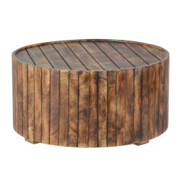 34 Inch Round Wooden Coffee Table With Plank Style Side, Rustic Brown