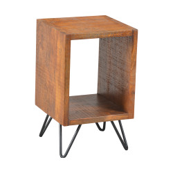 22 Inch Textured Cube Shape Wooden Nightstand With Angular Legs, Brown And Black