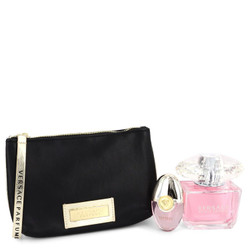 Bright Crystal by Versace Gift Set -- 3 oz Eau De Toilette Spray + 0.3 oz Mini EDT Spray + Black and Gold Pouch for Women