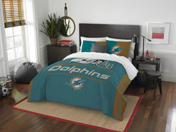 Miami Dolphins NFL Bedding Full/Queen Comforter and 2 Sham Set