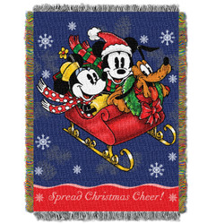 Mickey Mouse Sleigh Ride Woven Tapestry Throw