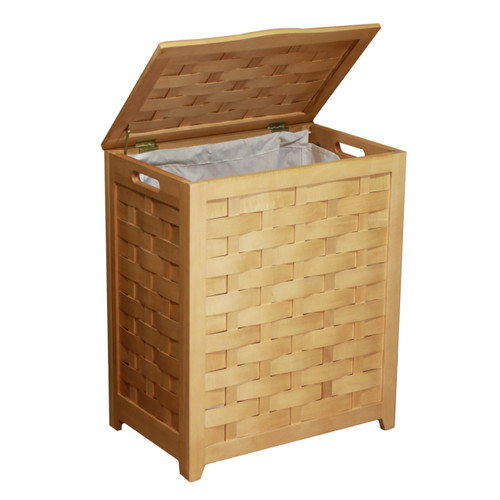 Oceanstar Natural Finished Rectangular Veneer Laundry Wood Hamper