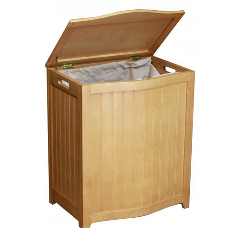 Oceanstar Natural Finished Bowed Front Laundry Wood Hamper BHP0106N
