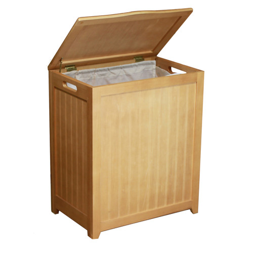 Oceanstar Natural Finished Rectangular Laundry Wood Hamper