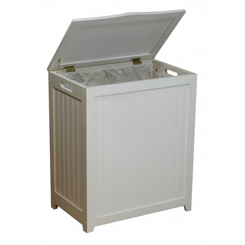 Oceanstar White Finished Rectangular Laundry Wood Hamper
