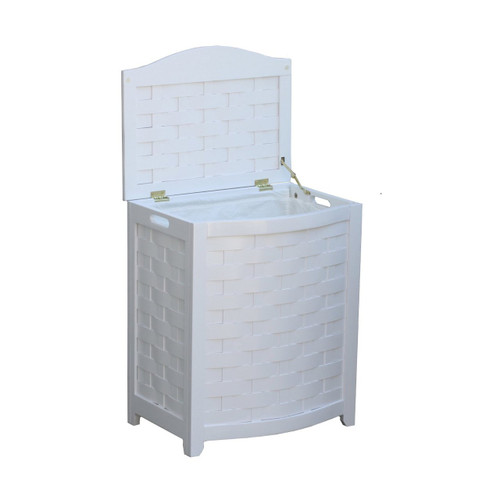 Oceanstar White Finished Bowed Front Veneer Laundry Wood Hamper