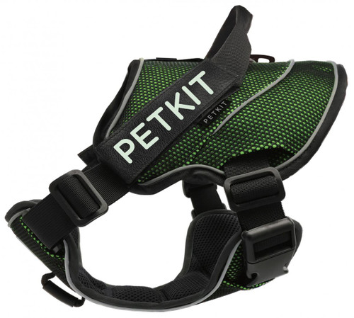 Petkit Air Quad-Connecting Adjustable Cushioned Chest Compression Dog Harness (Medium, Green/Black)