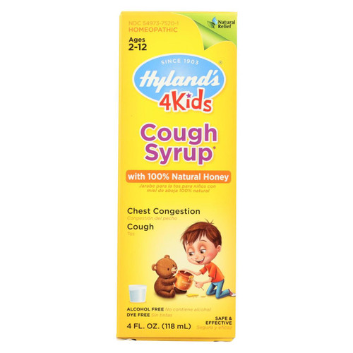 Hyland's 4 Kids Cough Syrup with 100% Natural Honey 4 oz