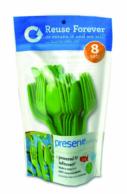Preserve Heavy Duty Apple Green Cutlery Set - 8 Sets (Case of 12)