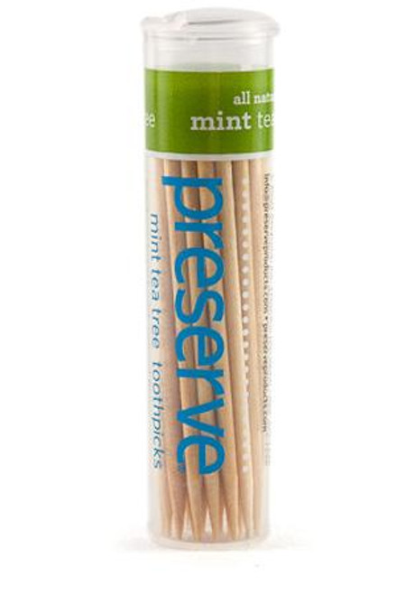 Preserve Mint Tea Tree Flavored Toothpicks - 35 Pieces (Case of 24)
