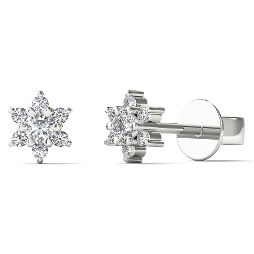 Aayna 10k White Gold 1/10ct TDW Diamond Flower Earrings