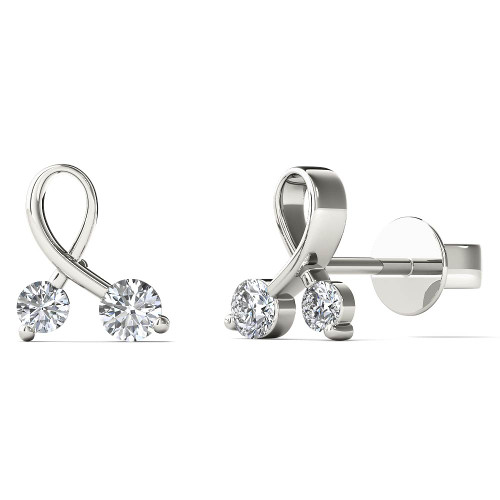 Aayna 10k White Gold 0.2ct TDW Diamond Ribbon Stud Earrings