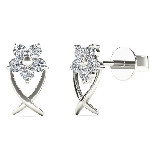 Aayna 10k White Gold 1/6ct TDW Diamond Star Flower Tiny Stud Earrings