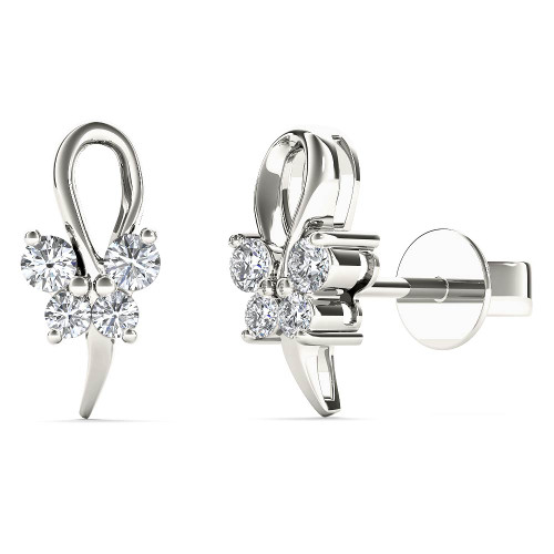Aayna 10k White Gold 1/8ct TDW Diamond Butterfly Tiny Stud Earrings