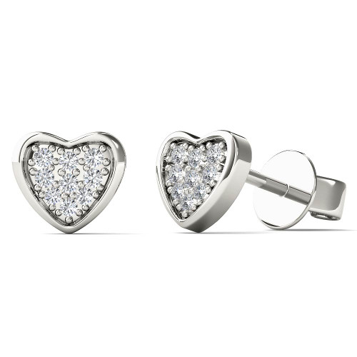 Aayna 10k White Gold Children's 3/5ct TDW Diamond Heart Earrings