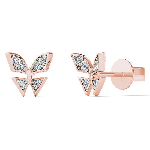 Aayna 10k Rose Gold Diamond Accent Cute Butterfly Stud Earrings