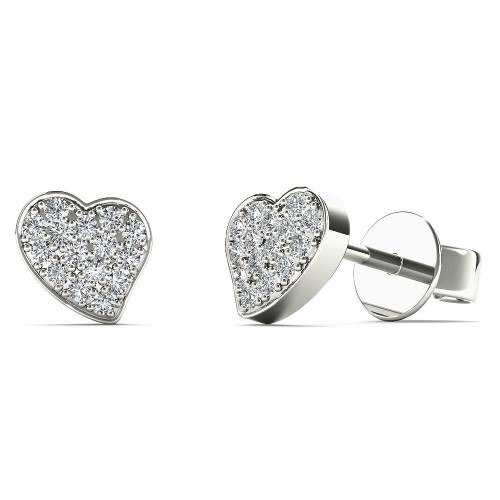 AAYNA 10k White Gold 1/10ct TDW Diamond Heart Stud Earrings (H-I, I1-I2)