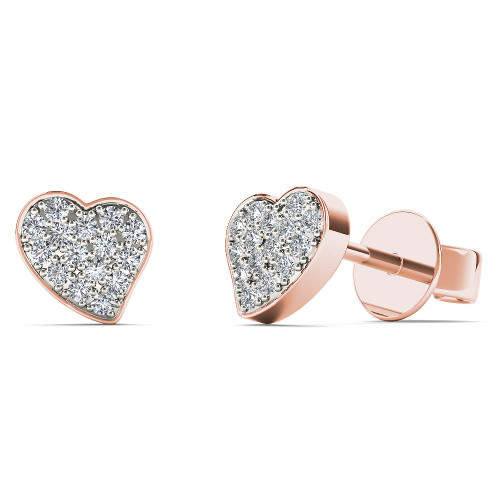 Aayna 10k Rose Gold 1/10ct TDW Diamond Heart Stud Earrings