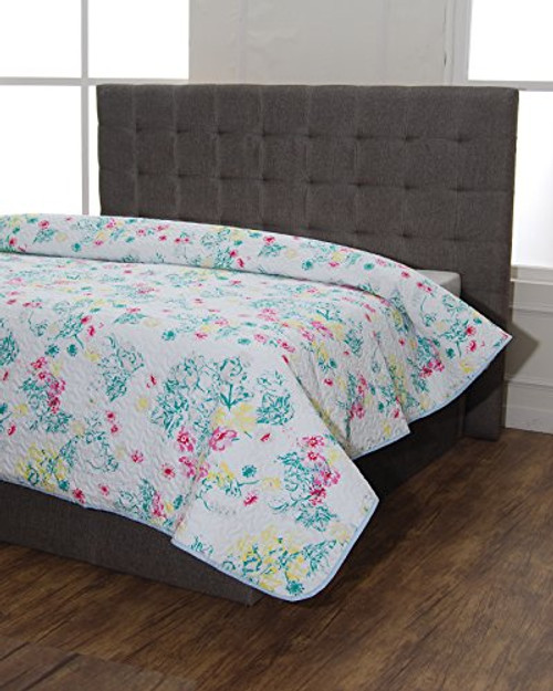 Cambay Linens Floral Printed 3 Piece Quilt Set - Queen