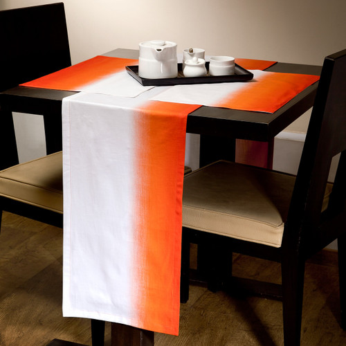 Cambay Linens Orange Gradient Runner and Placemat 7 Piece Set