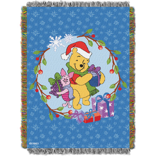 Winnie the Pooh Homemade Holiday Woven Tapestry Throw Blanket