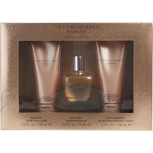 Unforgivable Woman by Sean John Parfum Spray, Body Lotion, & Shower Gel