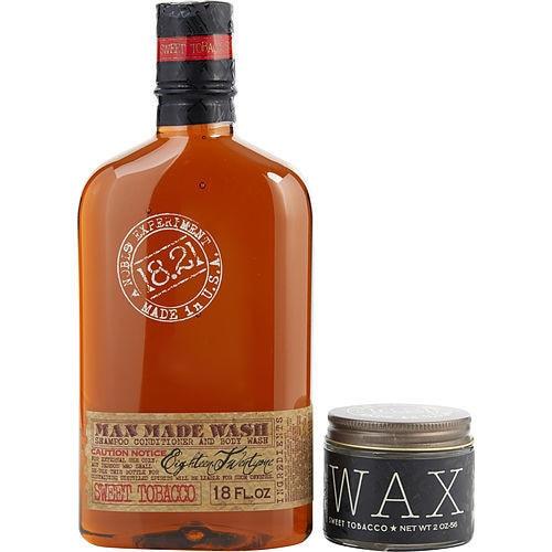 18.21 Man Made by 18.21 Man Made Man Made Wash & Wax Sweet Tobacco (Wash 18 oz, Wax 2 oz)