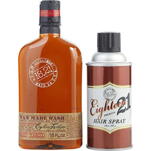 18.21 Man Made by 18.21 Man Made Man Made Wash & Hair Spray Sweet Tobacco (Wash 18 oz, Hair Spray 10 oz)